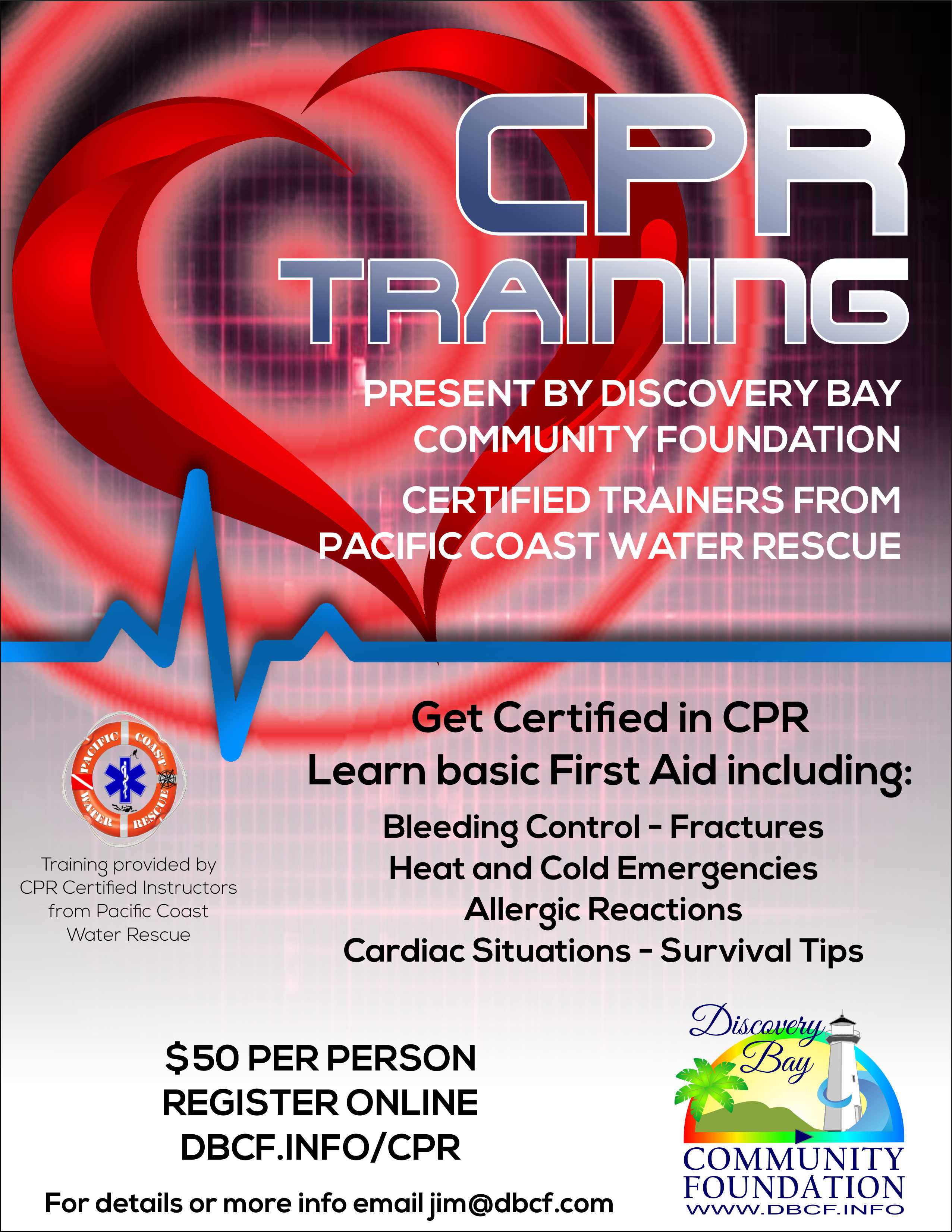 Dbcf discovery bay community foundation next class coming soon get certified in cpr learn basic first aid xflitez Images